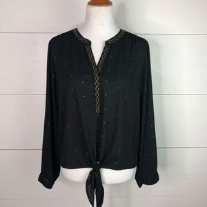 Chico's Gold Beaded Front Tie Black Blouse Size 2